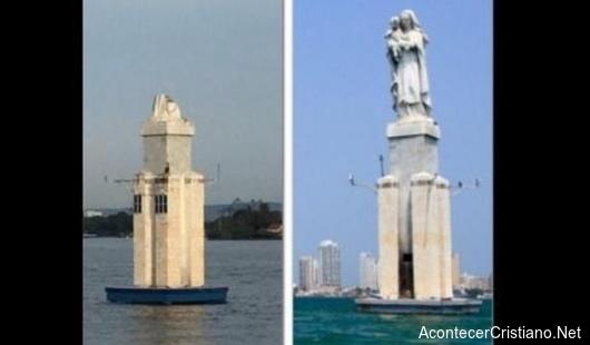 Rayo destruye imagen católica en bahía de Cartagena